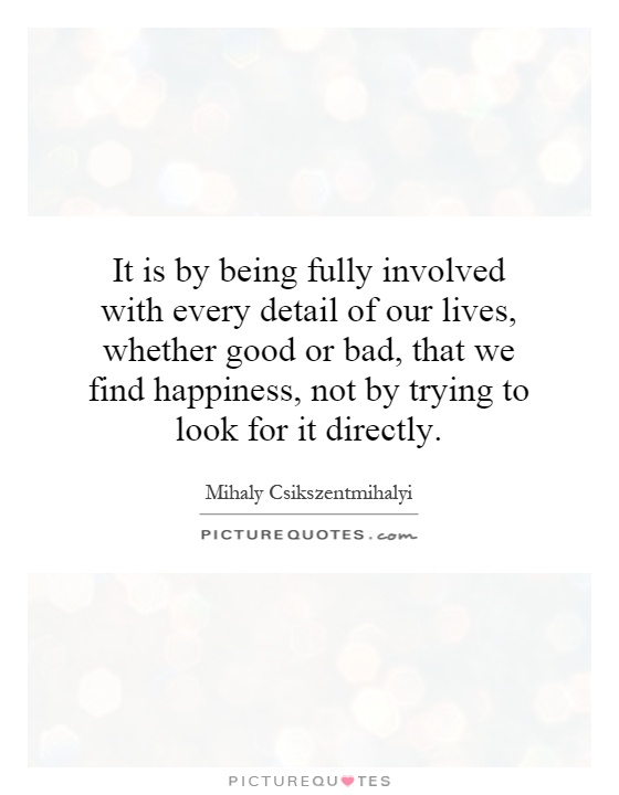 It is by being fully involved with every detail of our lives, whether good or bad, that we find happiness, not by trying to look for it directly Picture Quote #1