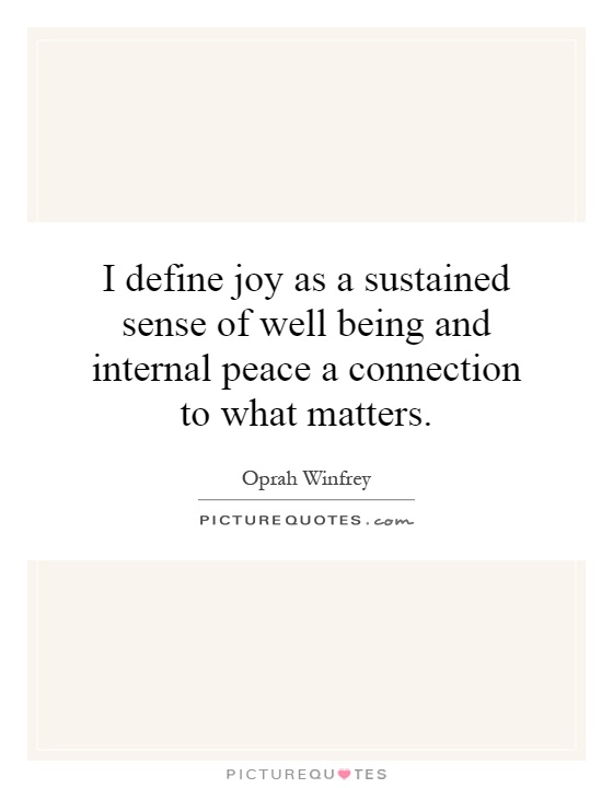 I define joy as a sustained sense of well being and internal peace a connection to what matters Picture Quote #1