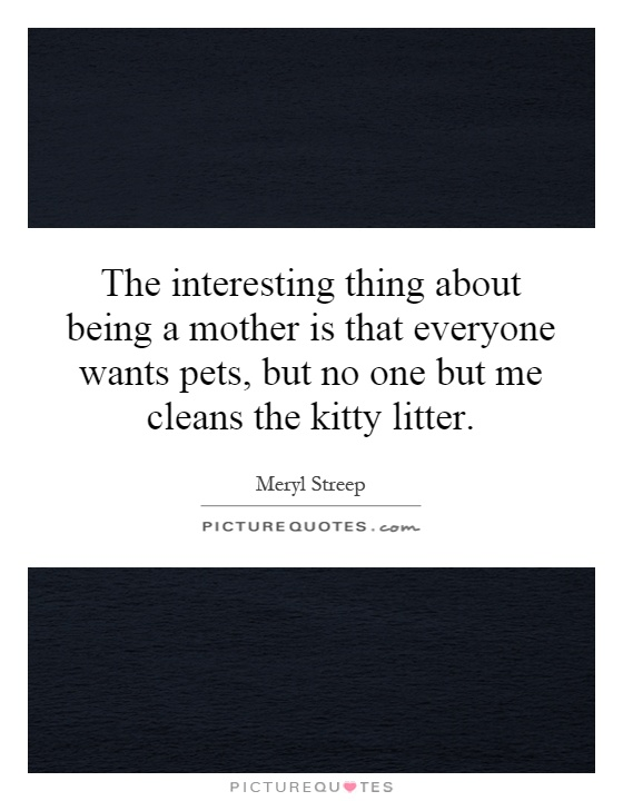 The interesting thing about being a mother is that everyone wants pets, but no one but me cleans the kitty litter Picture Quote #1