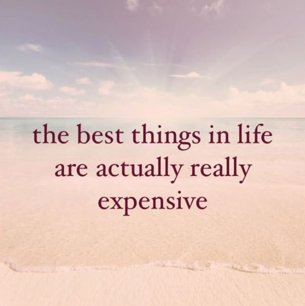 The best things in life are actually really expensive Picture Quote #2