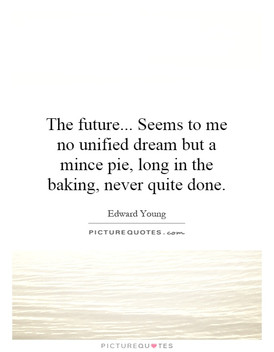 The future... Seems to me no unified dream but a mince pie, long in the baking, never quite done Picture Quote #1