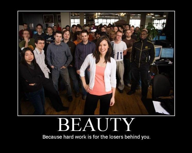 Beauty. Because hard work is for the losers behind you Picture Quote #1