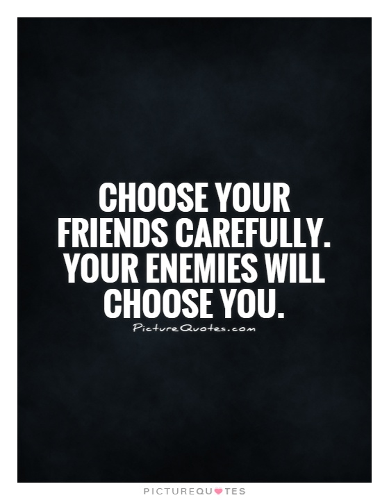 Choose your friends carefully. Your enemies will choose you Picture Quote #1