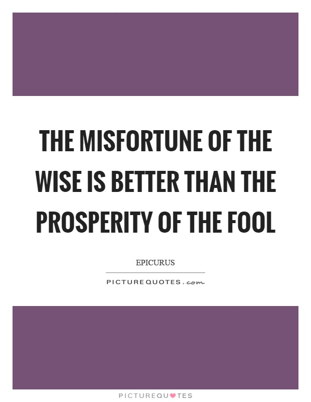 The misfortune of the wise is better than the prosperity of the fool Picture Quote #1