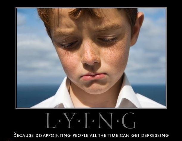 Lying. Because disappointing people all the time can get depressing Picture Quote #1