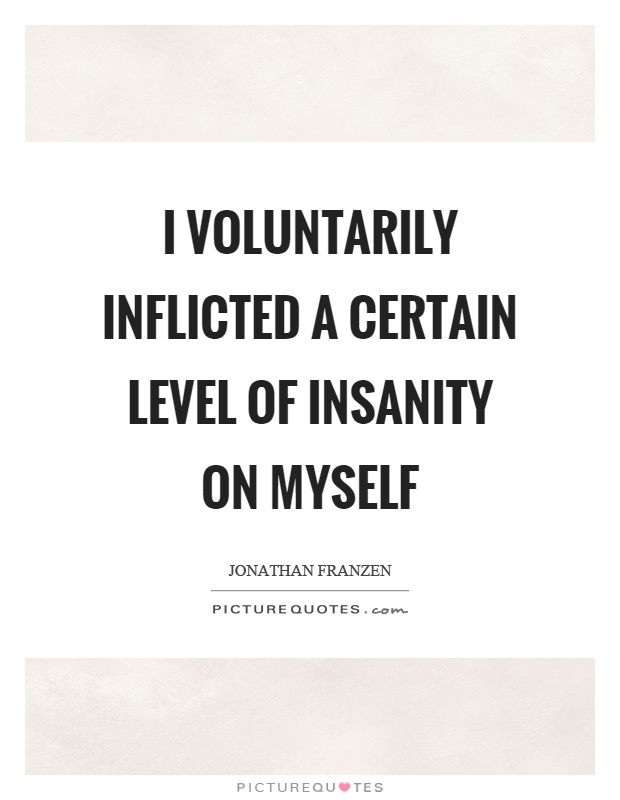 I voluntarily inflicted a certain level of insanity on myself Picture Quote #1