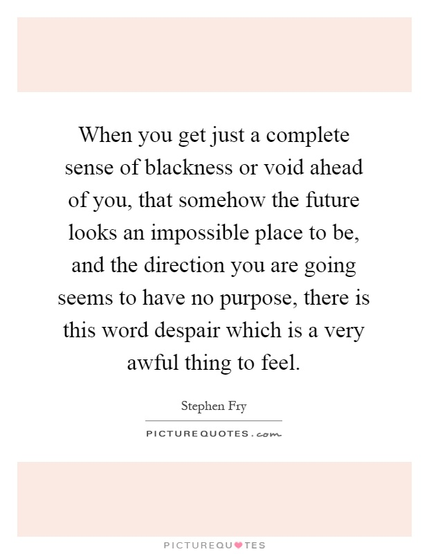 When you get just a complete sense of blackness or void ahead of you, that somehow the future looks an impossible place to be, and the direction you are going seems to have no purpose, there is this word despair which is a very awful thing to feel Picture Quote #1