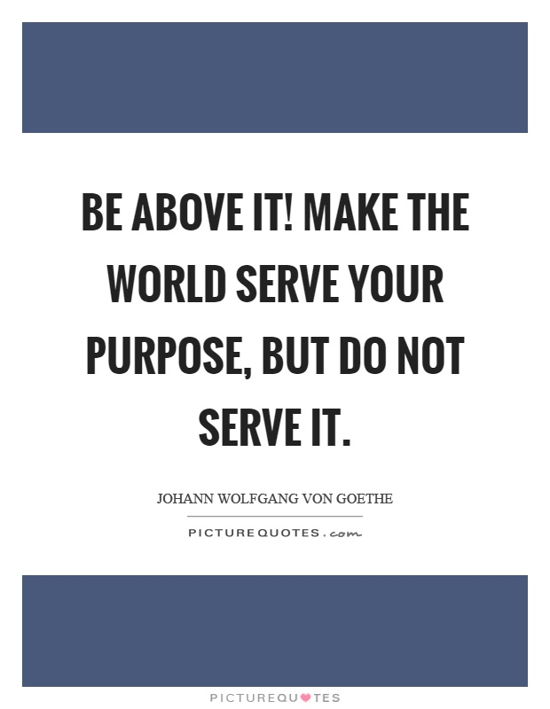 Be above it! Make the world serve your purpose, but do not serve it Picture Quote #1