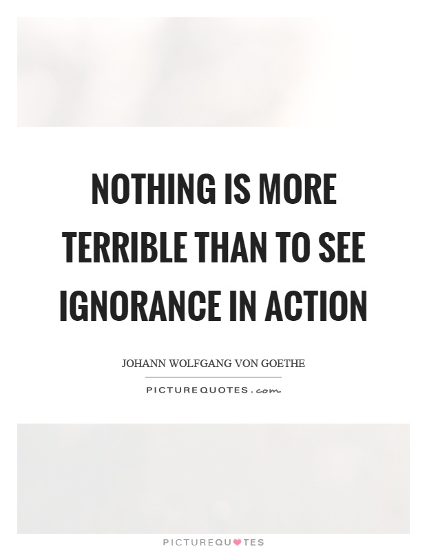 Nothing is more terrible than to see ignorance in action Picture Quote #1