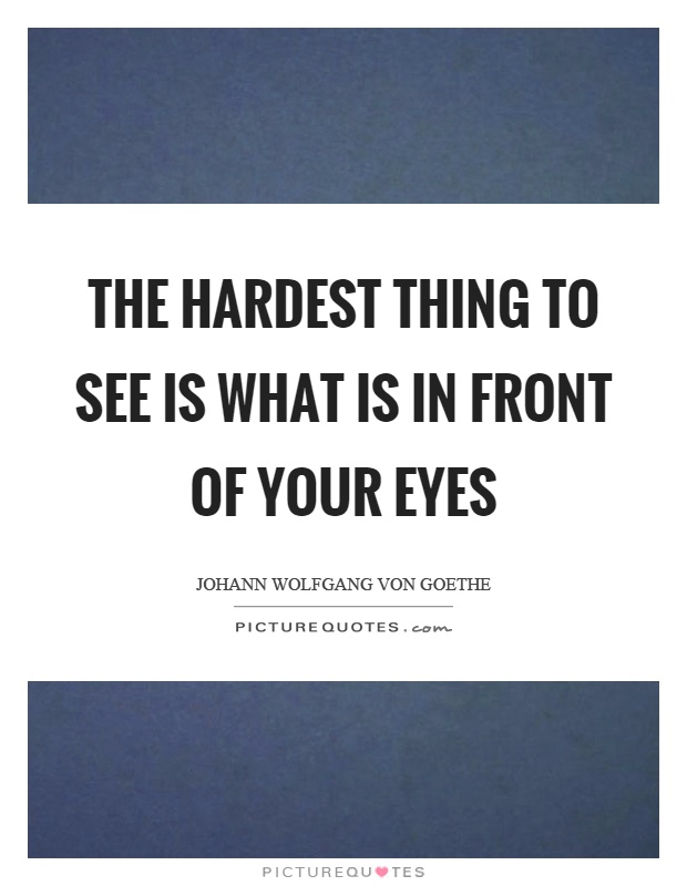 The hardest thing to see is what is in front of your eyes Picture Quote #1