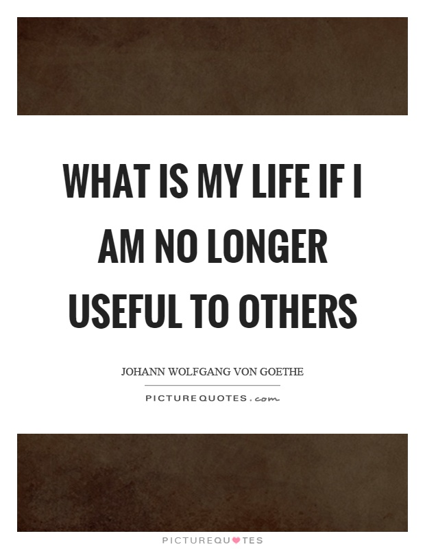 What is my life if I am no longer useful to others Picture Quote #1