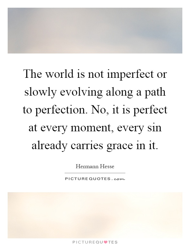 The world is not imperfect or slowly evolving along a path to perfection. No, it is perfect at every moment, every sin already carries grace in it Picture Quote #1