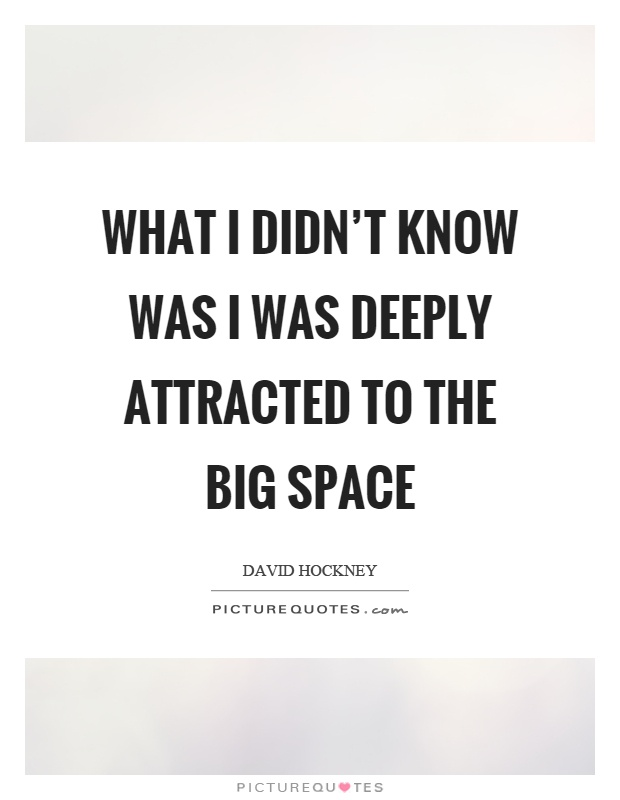 What I didn't know was I was deeply attracted to the big space Picture Quote #1