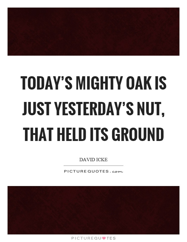 Today's mighty oak is just yesterday's nut, that held its ground Picture Quote #1