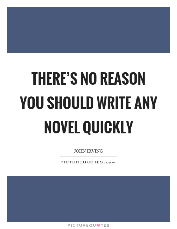 There's no reason you should write any novel quickly Picture Quote #1