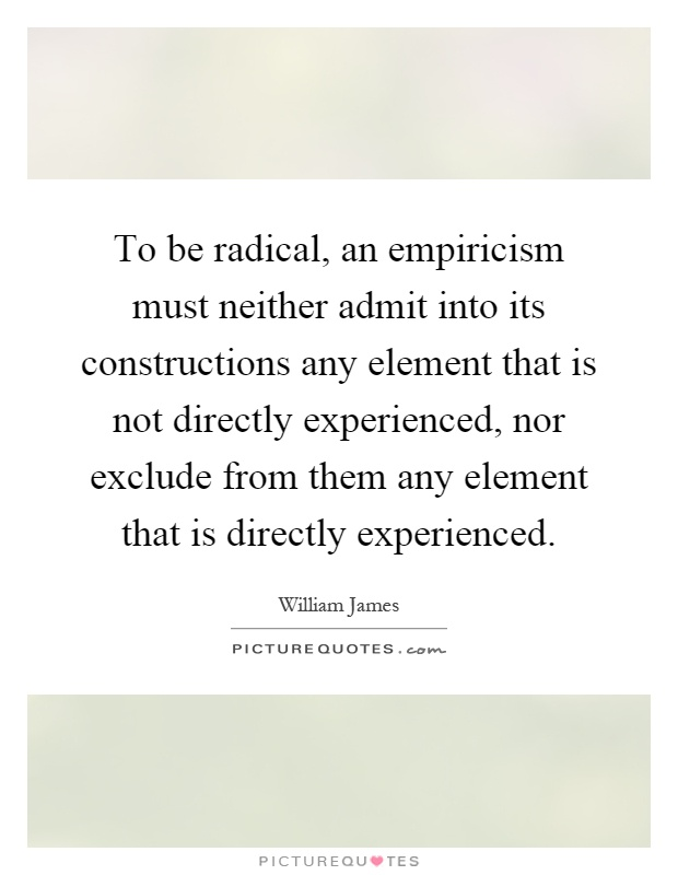 james essays radical empiricism