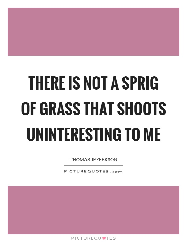There is not a sprig of grass that shoots uninteresting to me Picture Quote #1