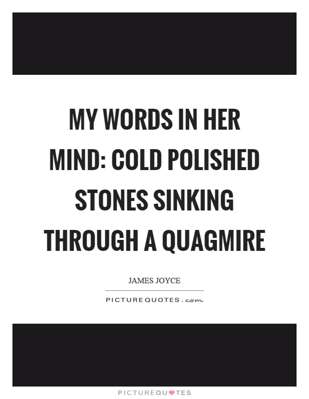 My words in her mind: cold polished stones sinking through a quagmire Picture Quote #1