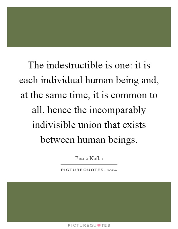 The indestructible is one: it is each individual human being and, at the same time, it is common to all, hence the incomparably indivisible union that exists between human beings Picture Quote #1