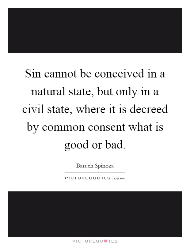 Sin cannot be conceived in a natural state, but only in a civil state, where it is decreed by common consent what is good or bad Picture Quote #1