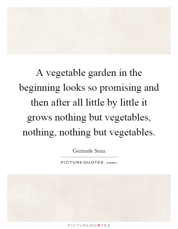 A vegetable garden in the beginning looks so promising and then after all little by little it grows nothing but vegetables, nothing, nothing but vegetables Picture Quote #1