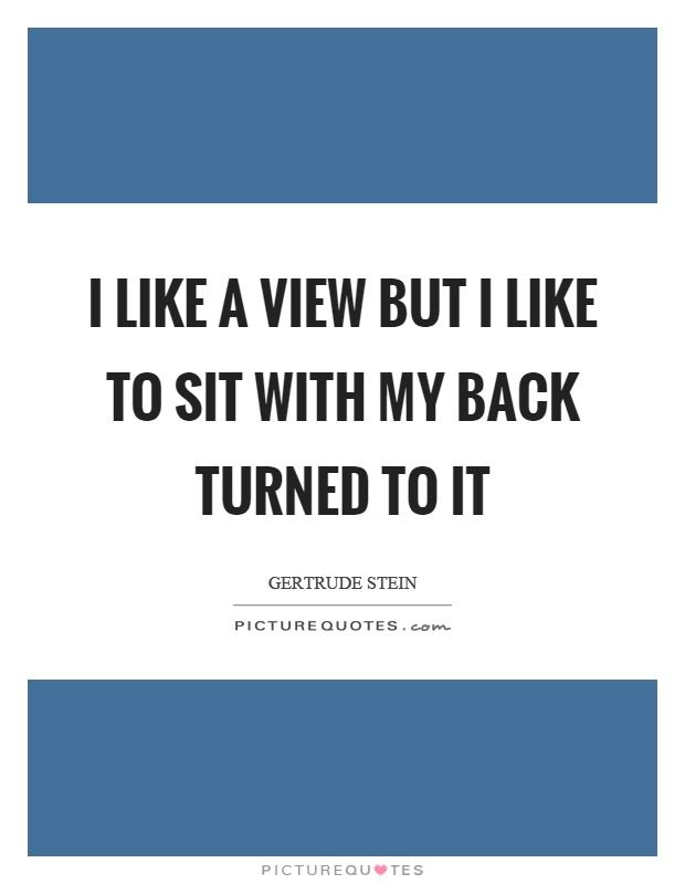 I like a view but I like to sit with my back turned to it Picture Quote #1