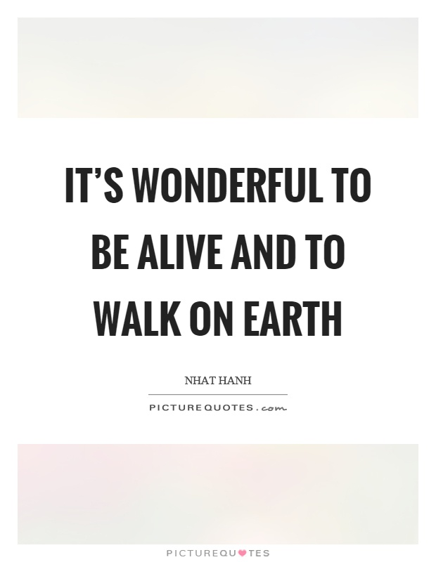 It's wonderful to be alive and to walk on earth Picture Quote #1