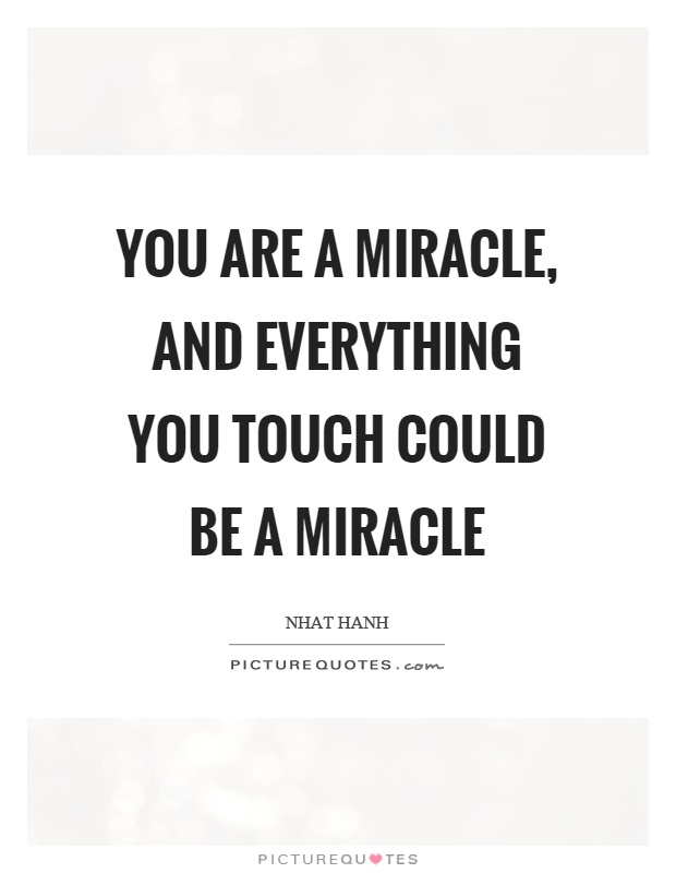 You are a miracle, and everything you touch could be a miracle Picture Quote #1