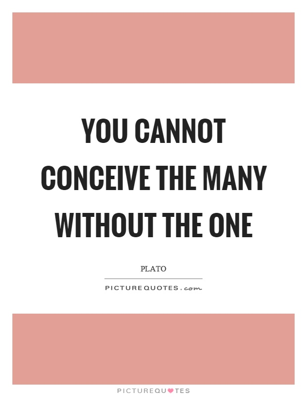 You cannot conceive the many without the one Picture Quote #1
