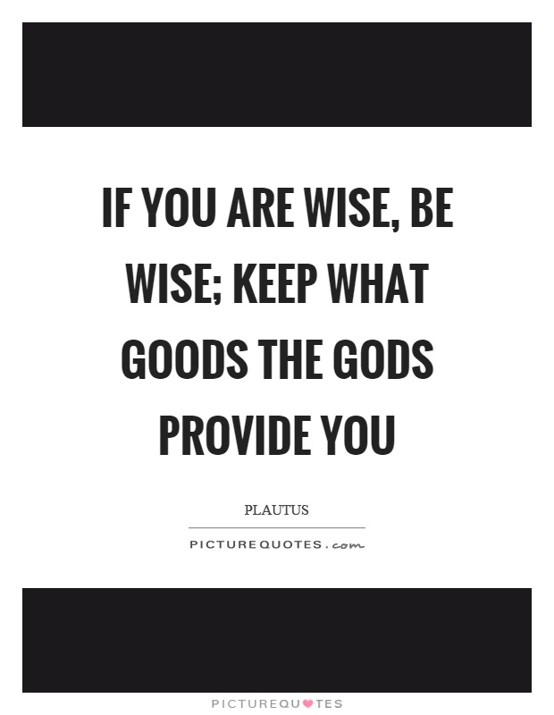 If you are wise, be wise; keep what goods the gods provide you Picture Quote #1