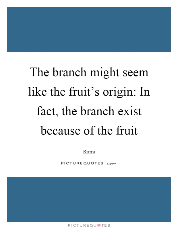 The branch might seem like the fruit's origin: In fact, the branch exist because of the fruit Picture Quote #1