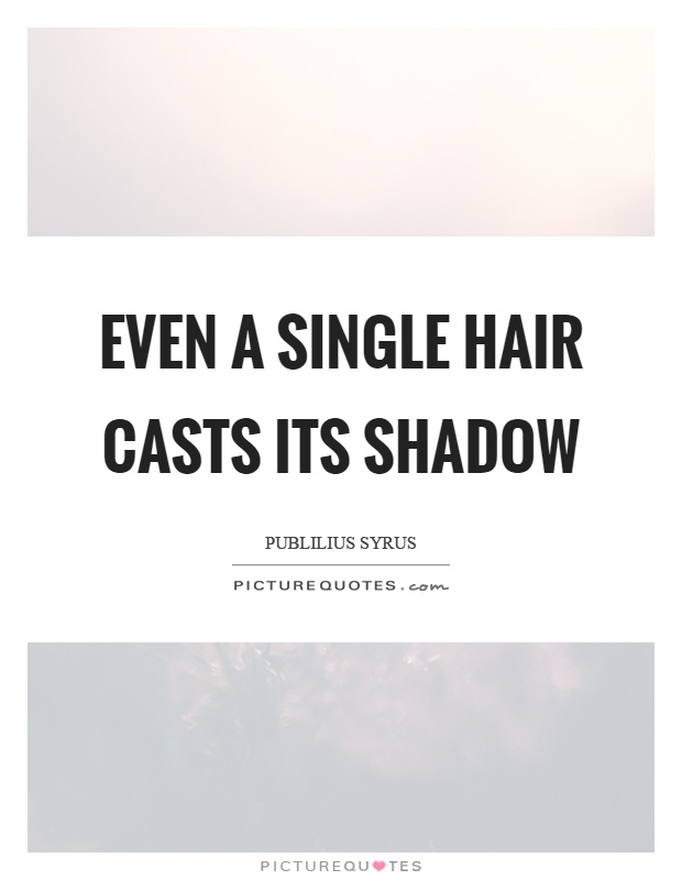 Even a single hair casts its shadow Picture Quote #1