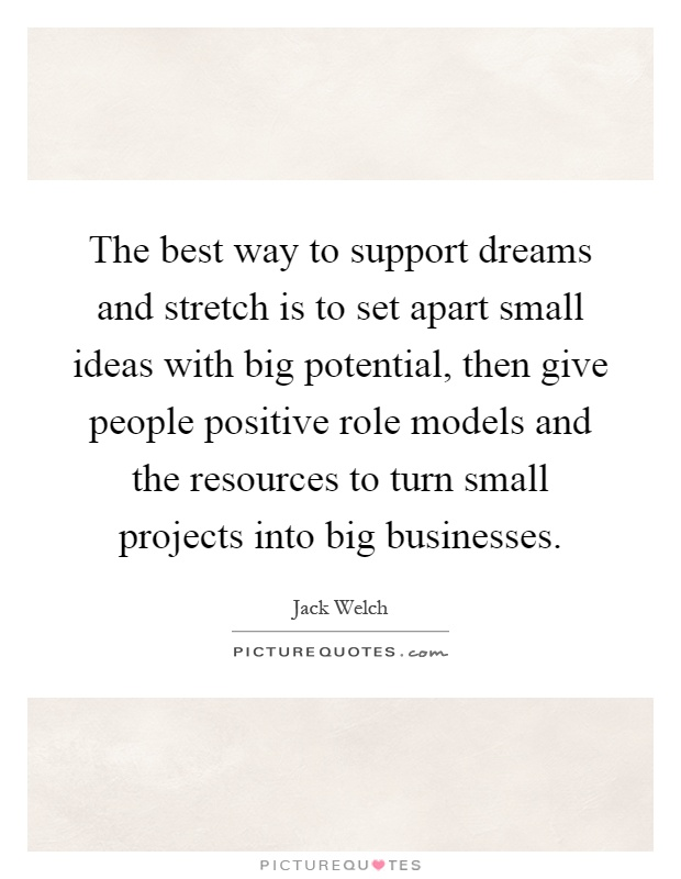 The best way to support dreams and stretch is to set apart small ideas with big potential, then give people positive role models and the resources to turn small projects into big businesses Picture Quote #1