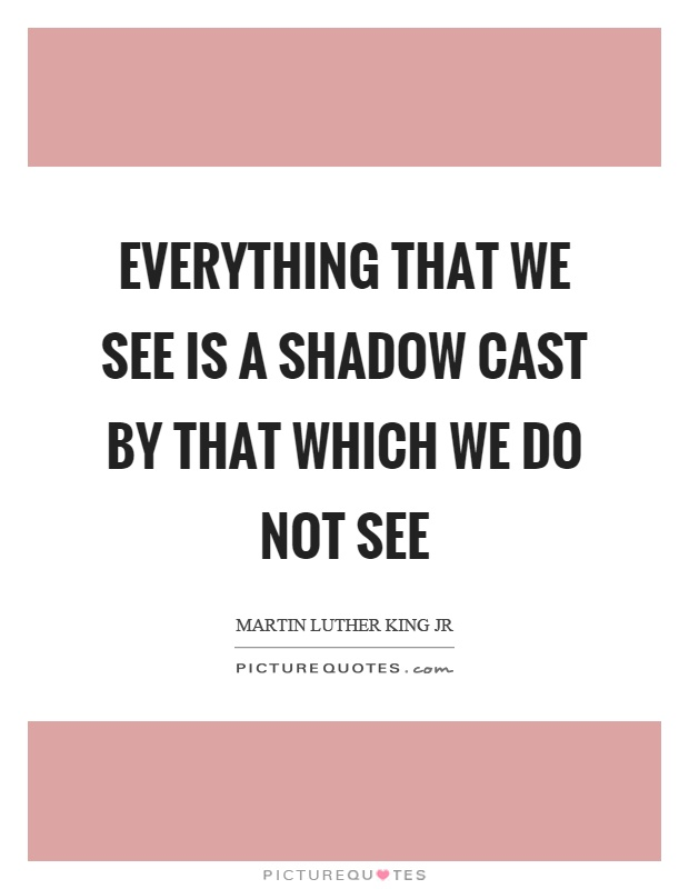 Everything that we see is a shadow cast by that which we do not see Picture Quote #1