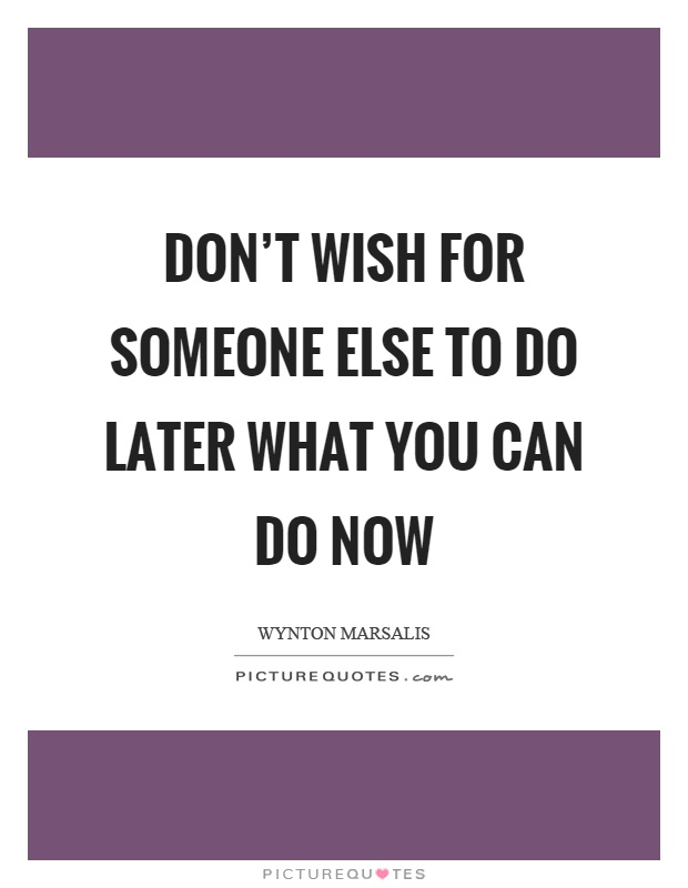 Don't wish for someone else to do later what you can do now Picture Quote #1