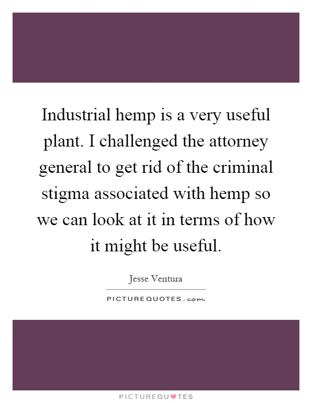 Industrial hemp is a very useful plant. I challenged the attorney general to get rid of the criminal stigma associated with hemp so we can look at it in terms of how it might be useful Picture Quote #1