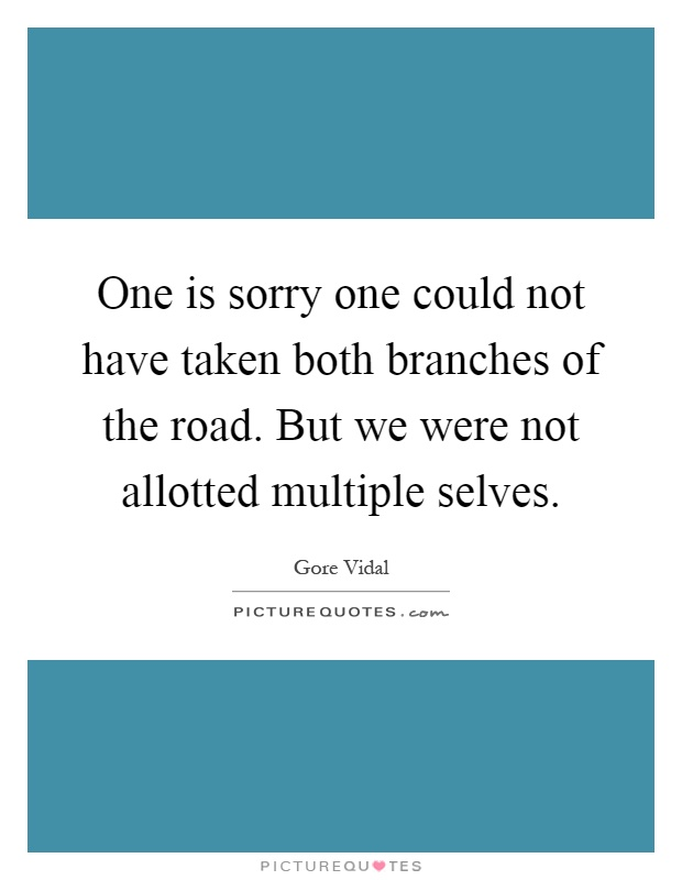 One is sorry one could not have taken both branches of the road. But we were not allotted multiple selves Picture Quote #1