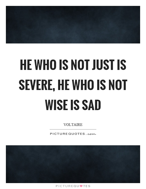 He who is not just is severe, he who is not wise is sad Picture Quote #1
