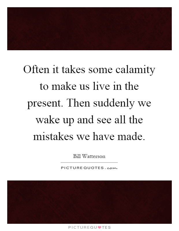 Often it takes some calamity to make us live in the present. Then suddenly we wake up and see all the mistakes we have made Picture Quote #1
