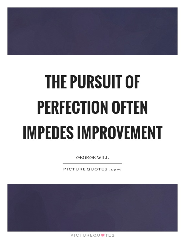 The pursuit of perfection often impedes improvement Picture Quote #1