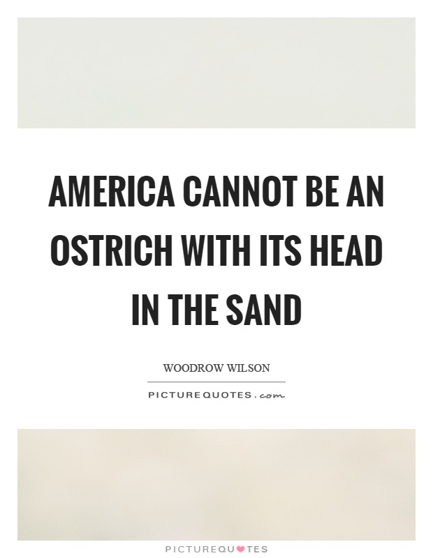 America cannot be an ostrich with its head in the sand Picture Quote #1