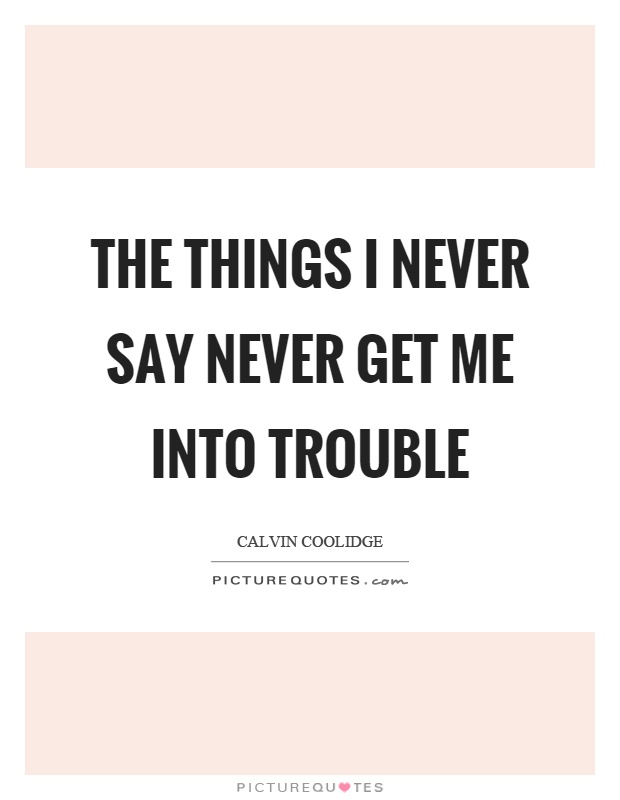 The things I never say never get me into trouble Picture Quote #1