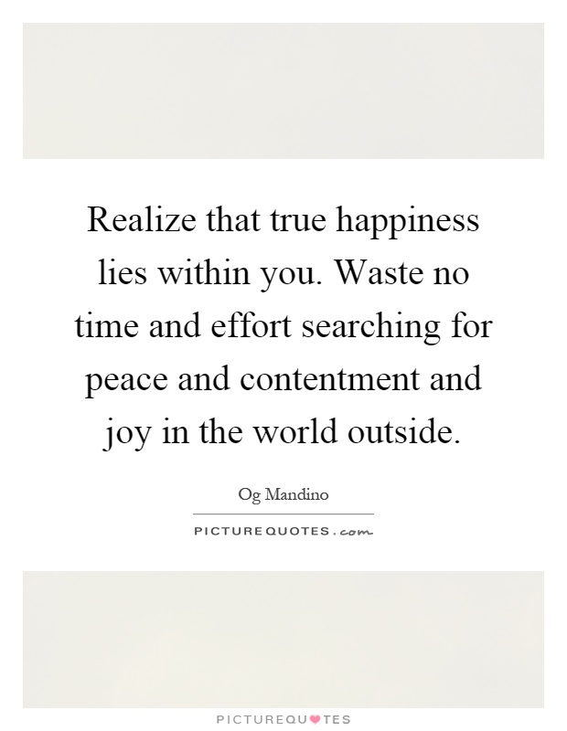 Realize that true happiness lies within you. Waste no time and effort searching for peace and contentment and joy in the world outside Picture Quote #1