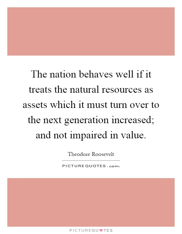 The nation behaves well if it treats the natural resources as assets which it must turn over to the next generation increased; and not impaired in value Picture Quote #1