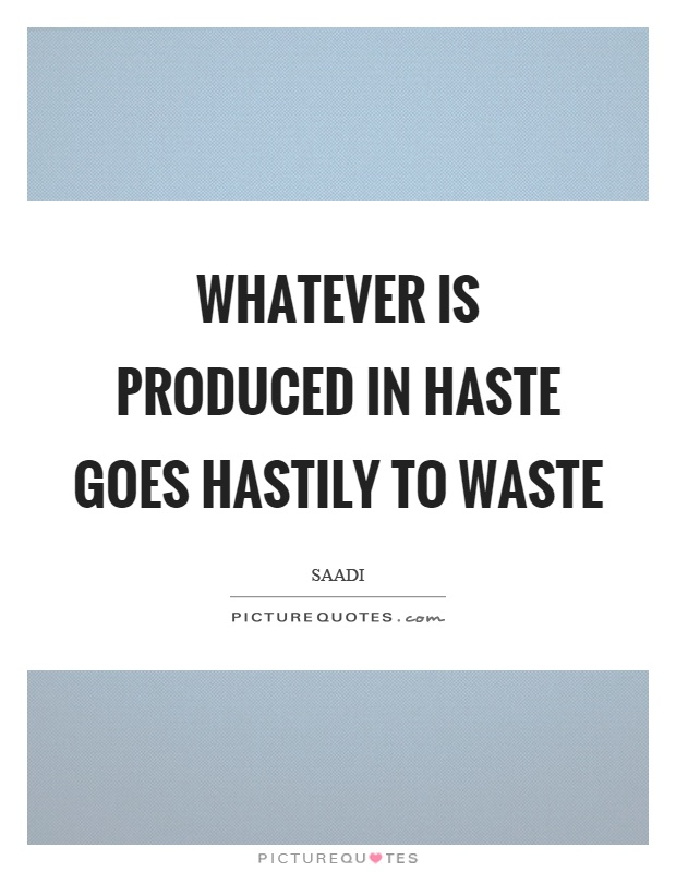 Whatever is produced in haste goes hastily to waste Picture Quote #1
