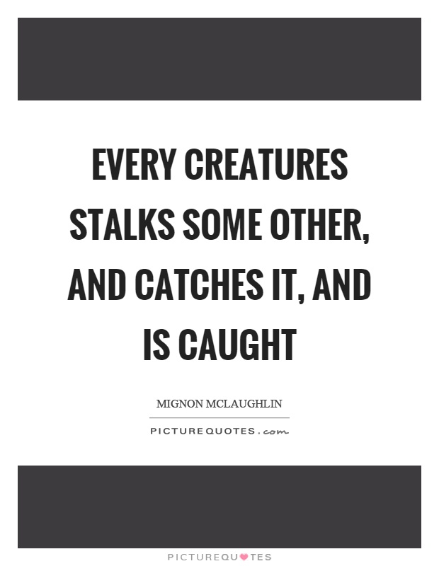 Every creatures stalks some other, and catches it, and is caught Picture Quote #1
