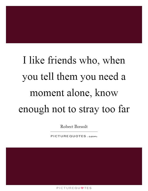 I like friends who, when you tell them you need a moment alone, know enough not to stray too far Picture Quote #1