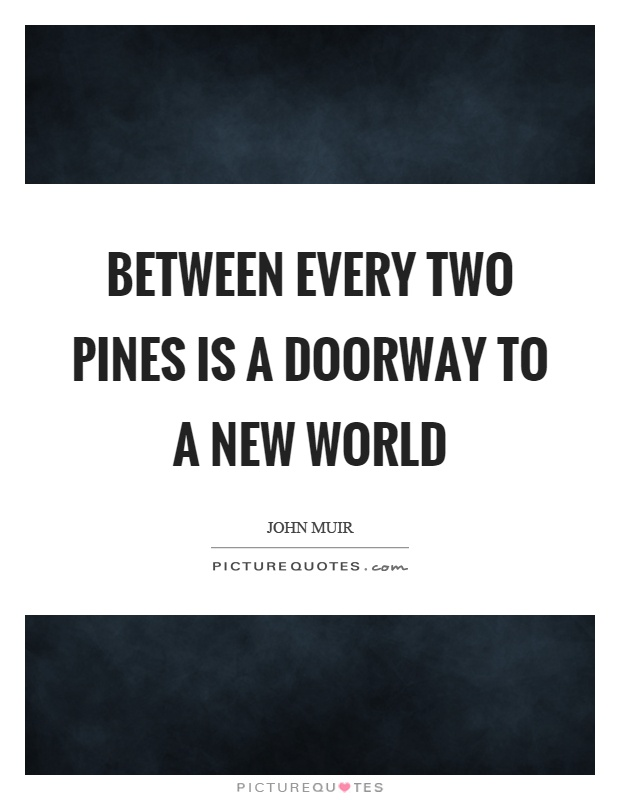 Between every two pines is a doorway to a new world Picture Quote #1