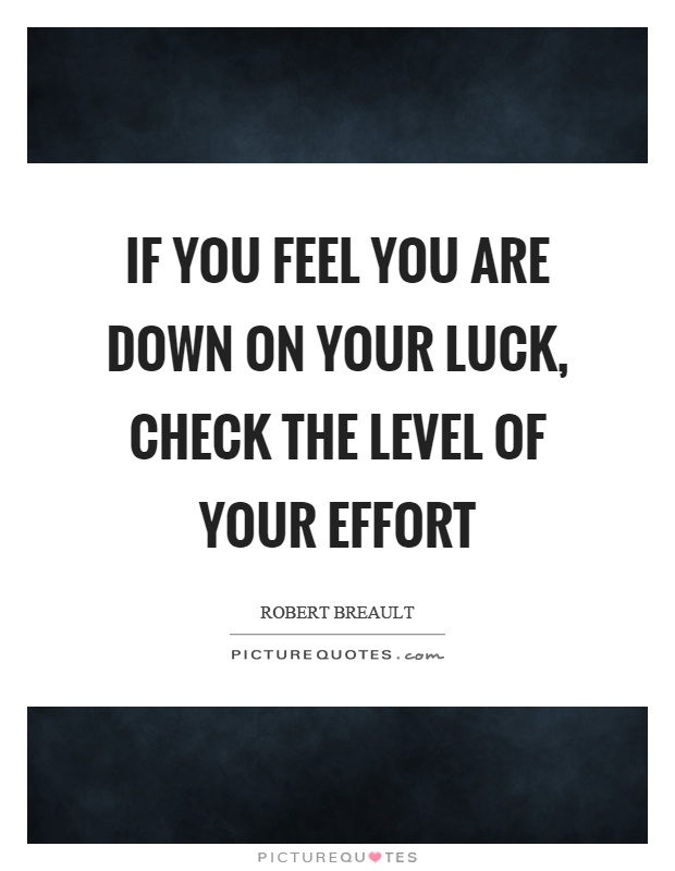 If you feel you are down on your luck, check the level of your effort Picture Quote #1