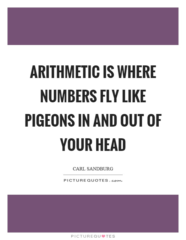 Arithmetic is where numbers fly like pigeons in and out of your head Picture Quote #1